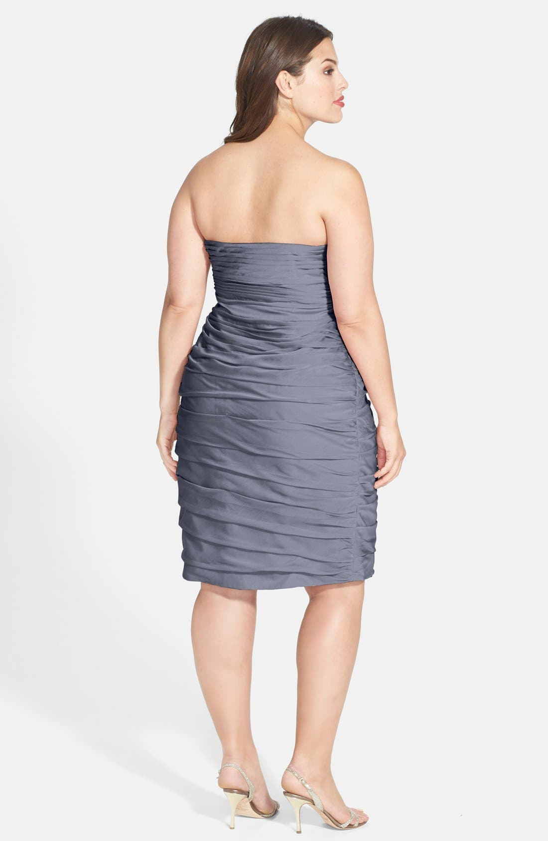 ,                             Ruched Strapless Cationic Chiffon Dress,                             Alternate thumbnail 15, color,                             022