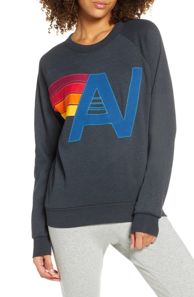 AVIATOR NATION Logo Stitch Sweatshirt, Main, color, CHARCOAL