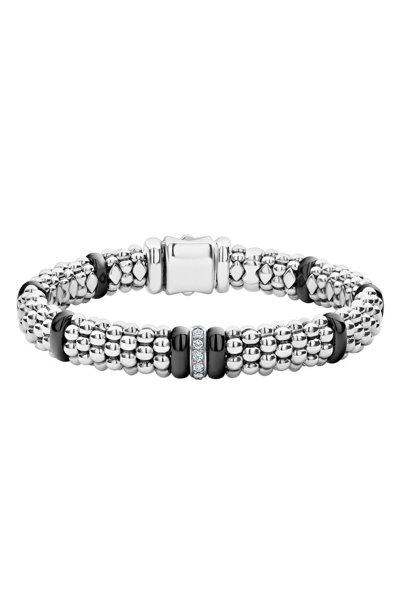LAGOS Black Caviar Diamond One-Link Bracelet, Main, color, SILVER/ BLACK CERAMIC/ DIAMOND