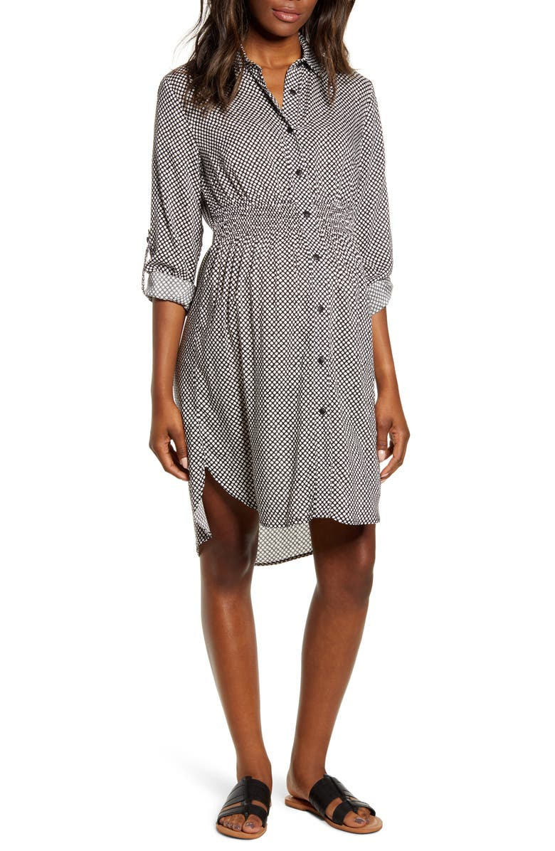 ANGEL MATERNITY Maternity Shirtdress, Main, color, BLACK/ WHITE SPOTS