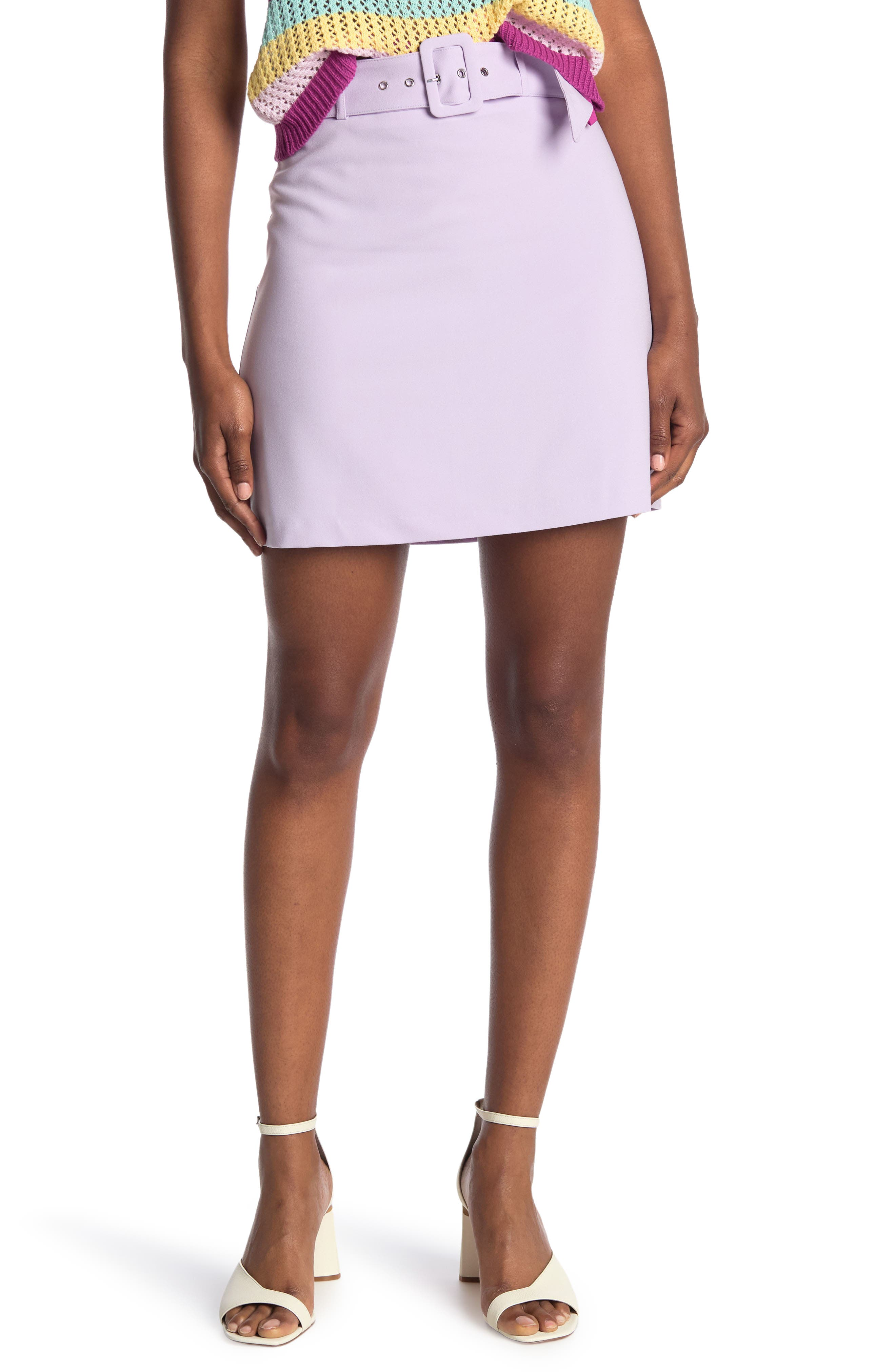 Image of BCBGeneration Belted A-Line Woven Mini Skirt