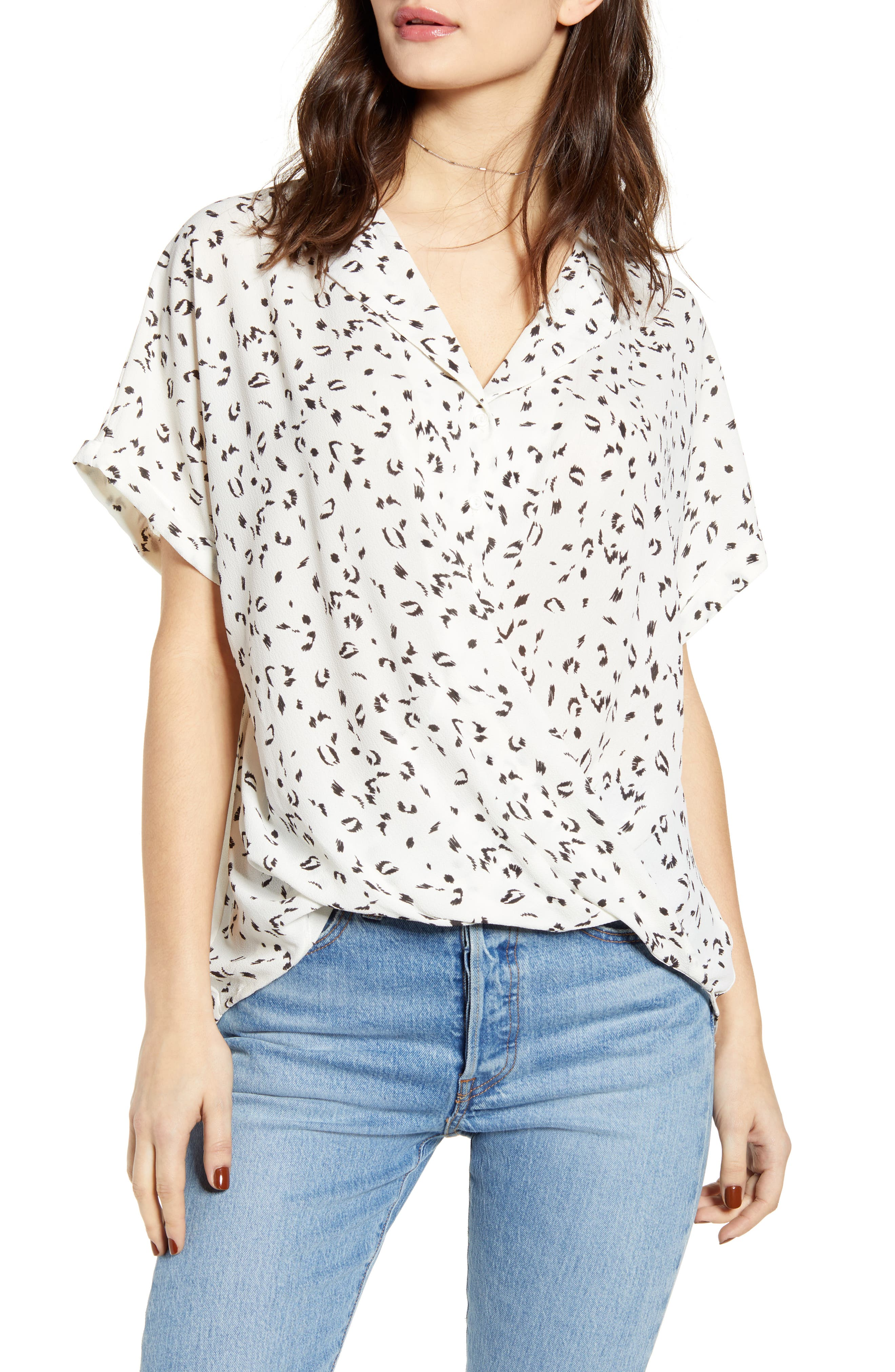 Gathered Front Button Top, Main, color, BLACK/ WHITE