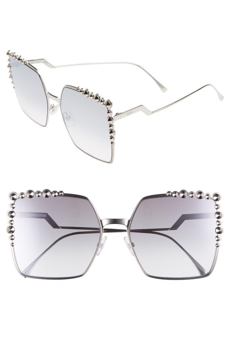 FENDI 60mm Gradient Square Cat Eye Sunglasses, Main, color, 043
