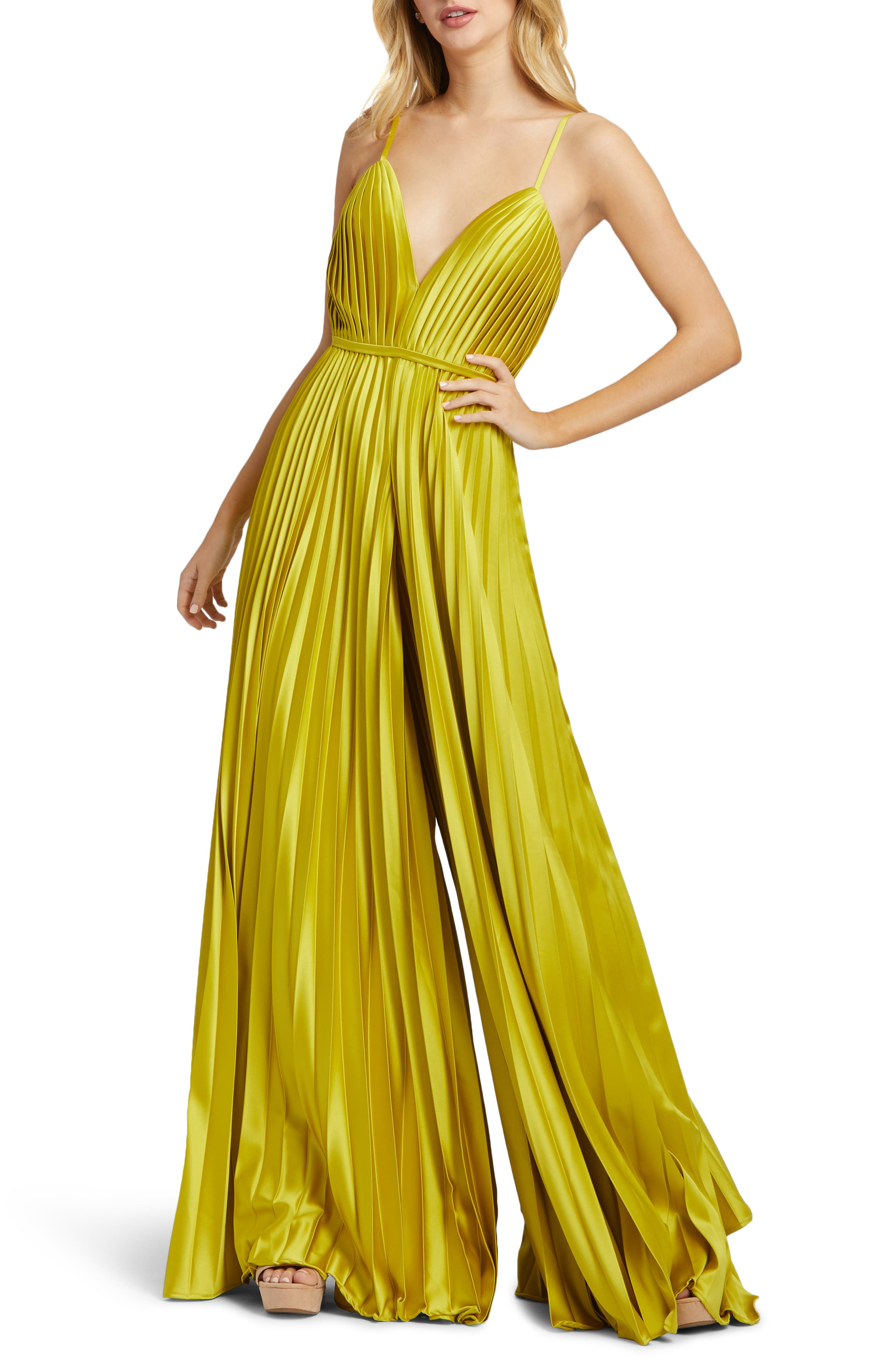 70s Dresses – Disco Dress, Hippie Dress, Wrap Dress Womens Ieena For MAC Duggal Pleated Satin Wide Leg Jumpsuit Size 14 - Yellow $398.00 AT vintagedancer.com