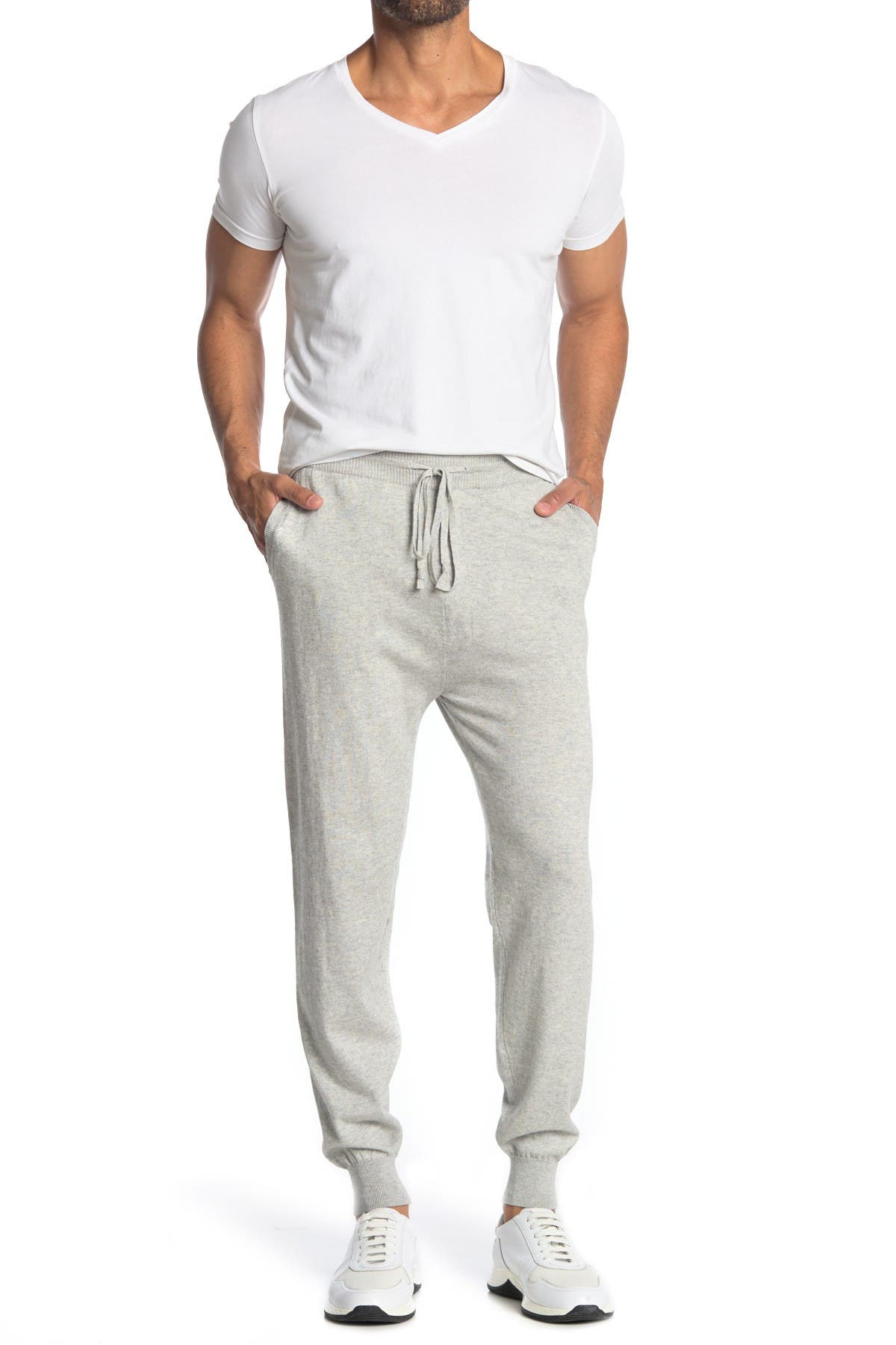 Image of AMICALE Solid Cotton Cashmere Blend Joggers