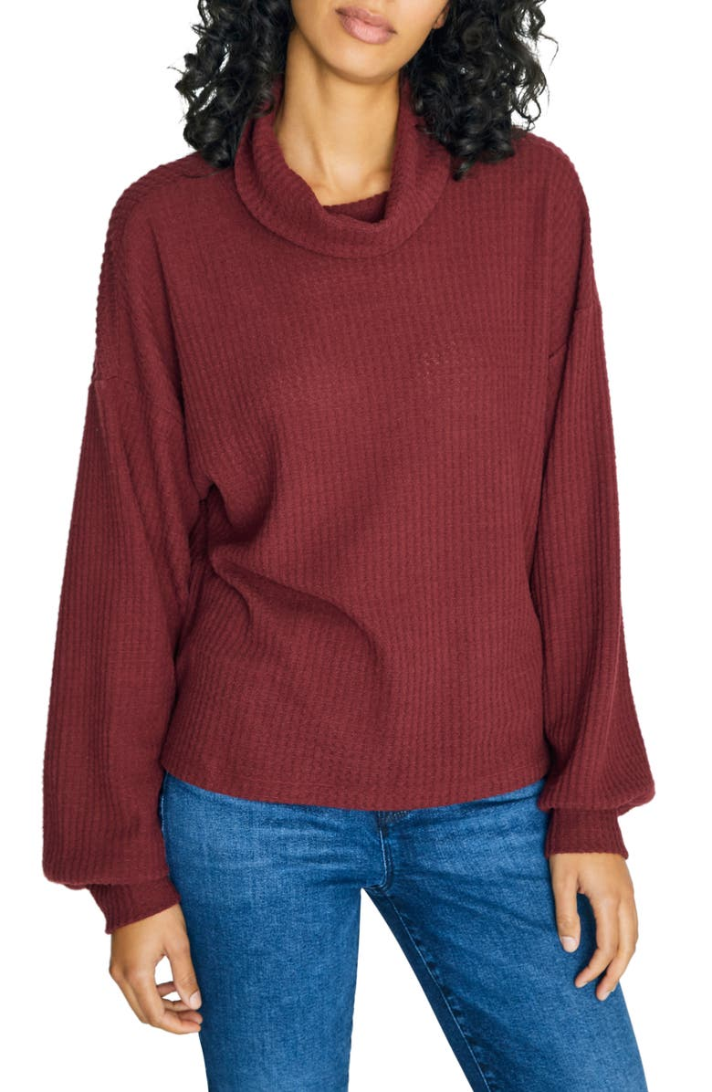 SANCTUARY Klara Waffle Knit Turtleneck Sweater, Main, color, GARNET