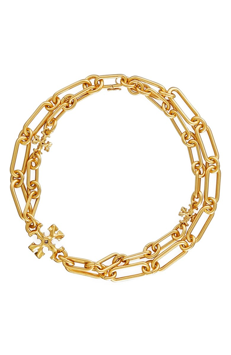 TORY BURCH Roxanne Layered Chain Necklace, Main, color, ROLLED BRASS