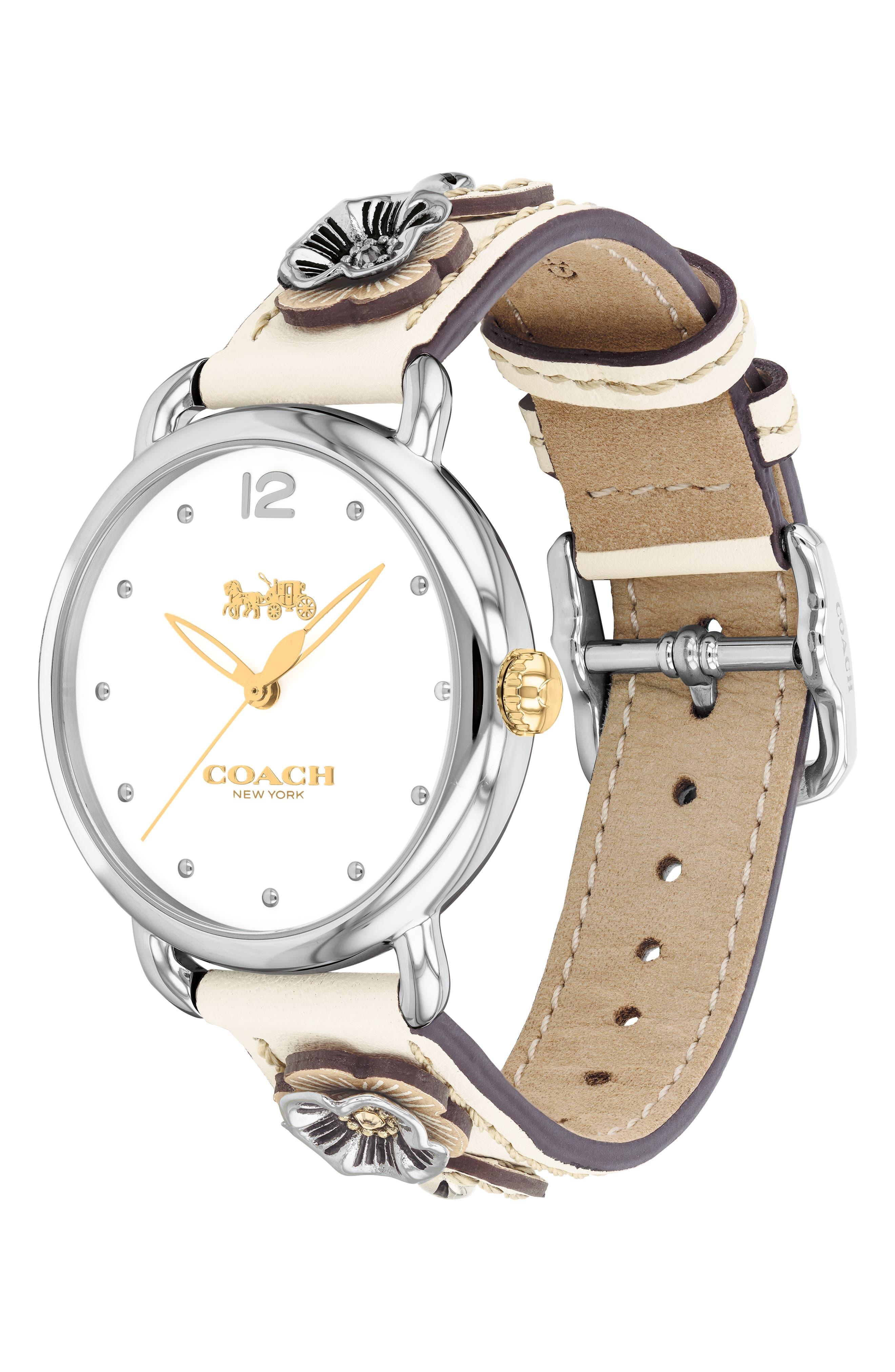 ,                             Delancey Leather Strap Watch, 36mm,                             Alternate thumbnail 3, color,                             CHALK / WHITE/ SILVER