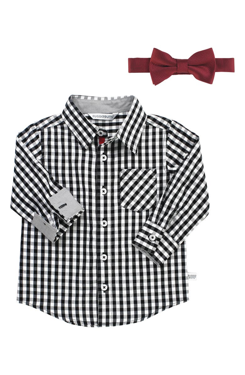 RUGGEDBUTTS Gingham Shirt & Bow Tie Set, Main, color, BLACK