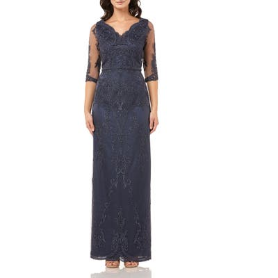 Js Collections Embroidered Mesh Blouson Gown, Blue