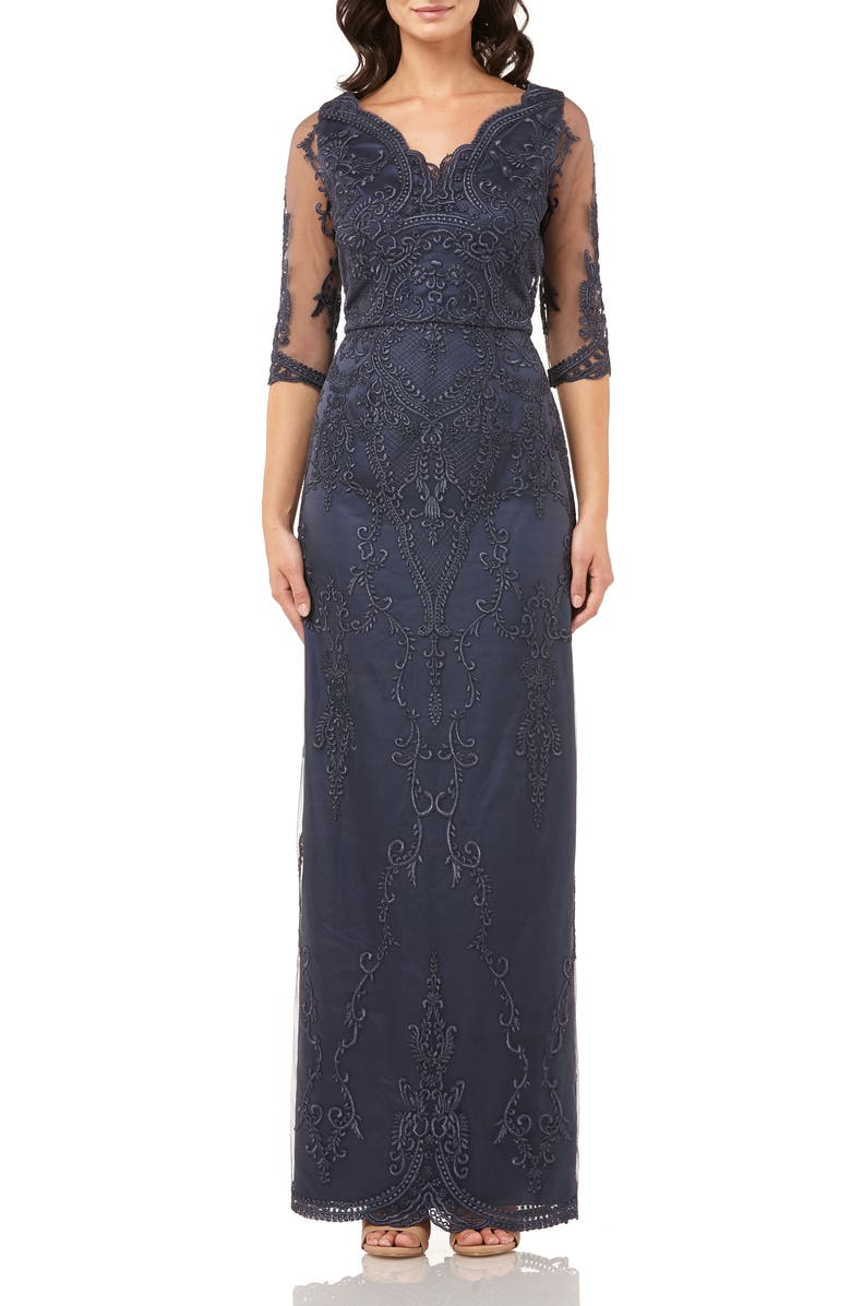JS COLLECTIONS Embroidered Mesh Blouson Gown, Main, color, 400