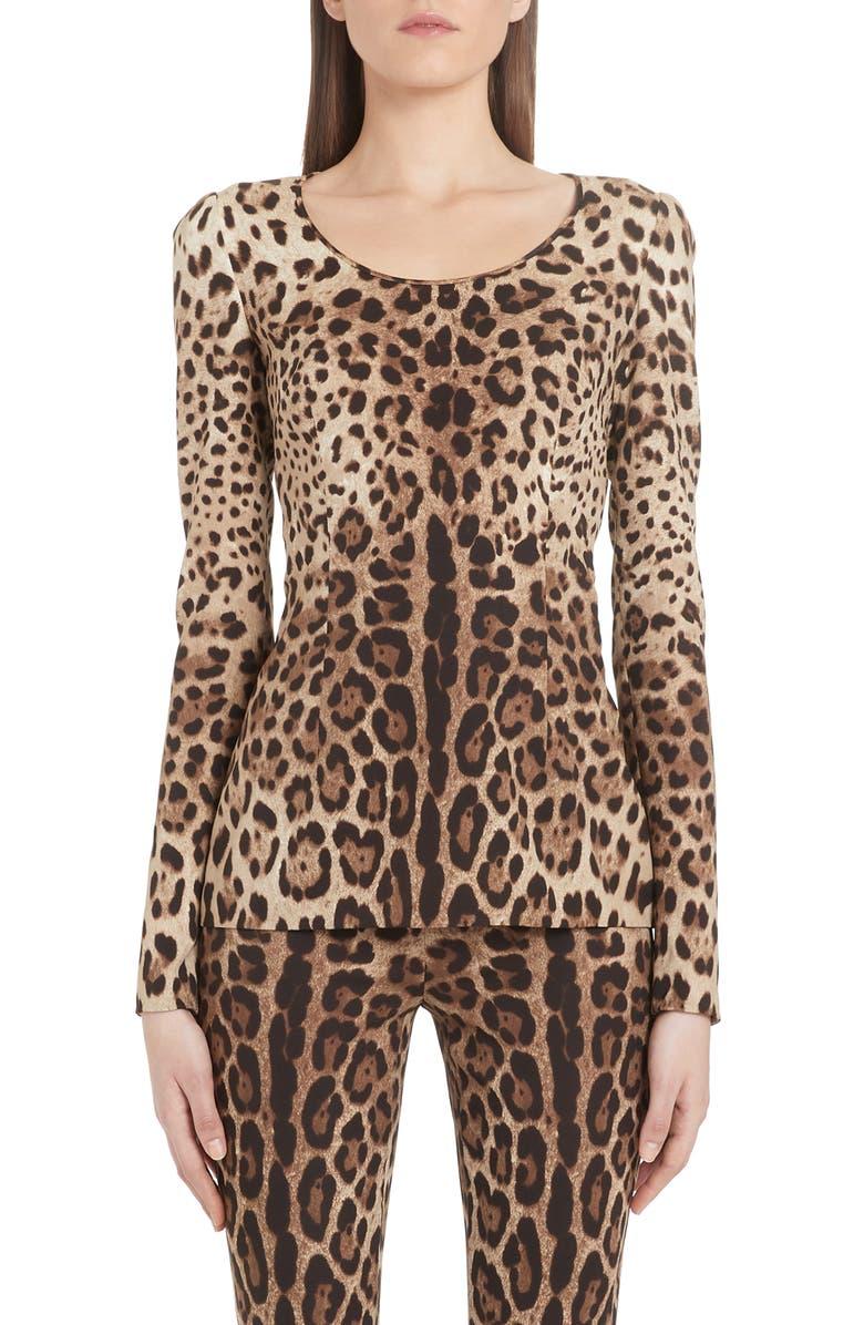 DOLCE&GABBANA Leopard Print Stretch Silk Top, Main, color, LEO