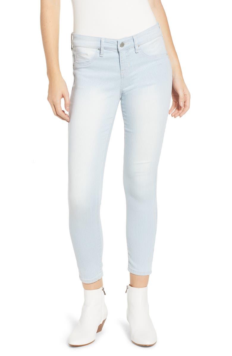 TINSEL Pinstripe Crop Skinny Jeans, Main, color, PALM BAY WASH