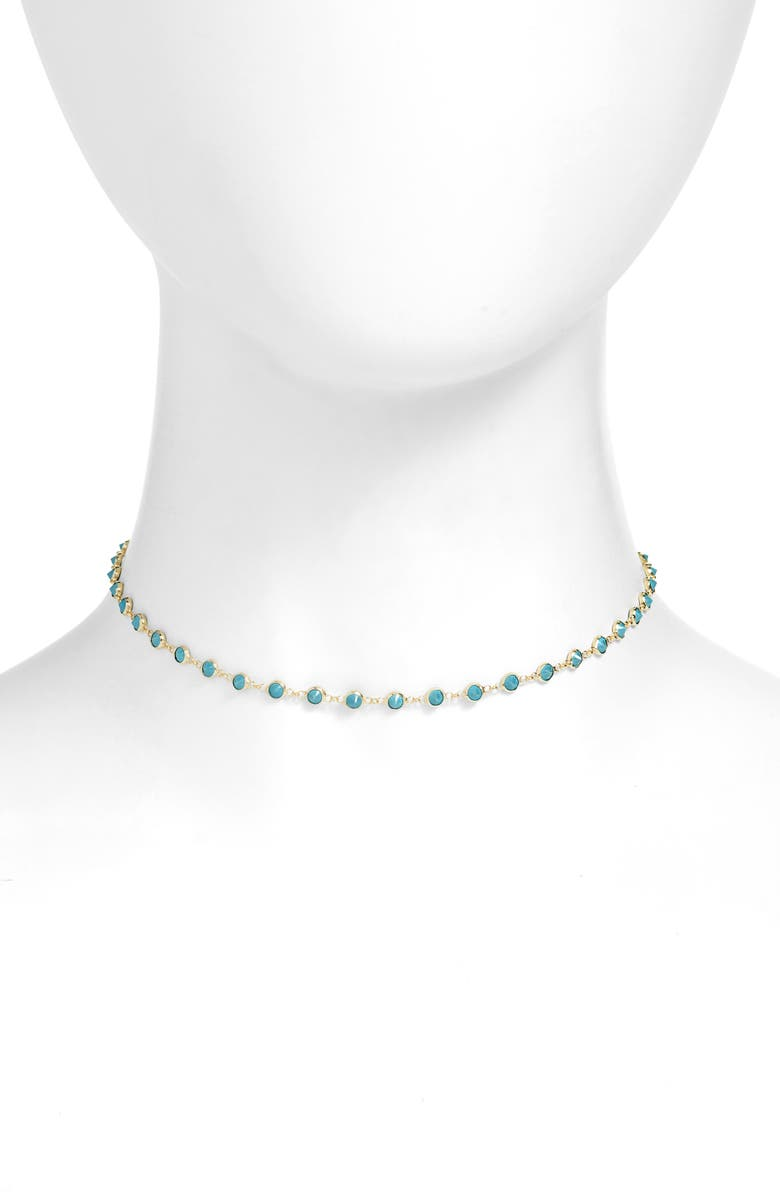 ADINA'S JEWELS Adina's Jewels Synthetic Turquoise Choker Necklace, Main, color, GOLD