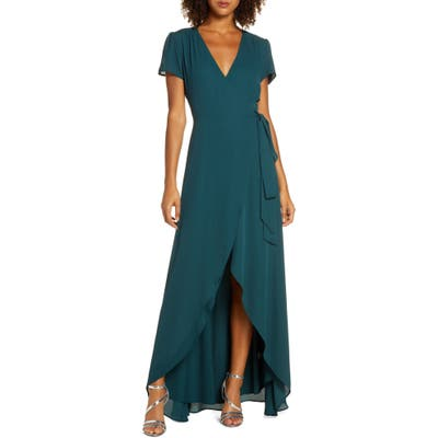 Wayf The Zoey Short Sleeve Wrap Gown, Green