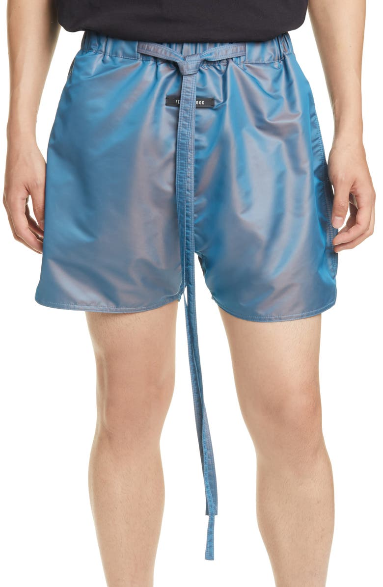 FEAR OF GOD Military Physical Training Nylon Shorts, Main, color, BLUE IRIDESCENT