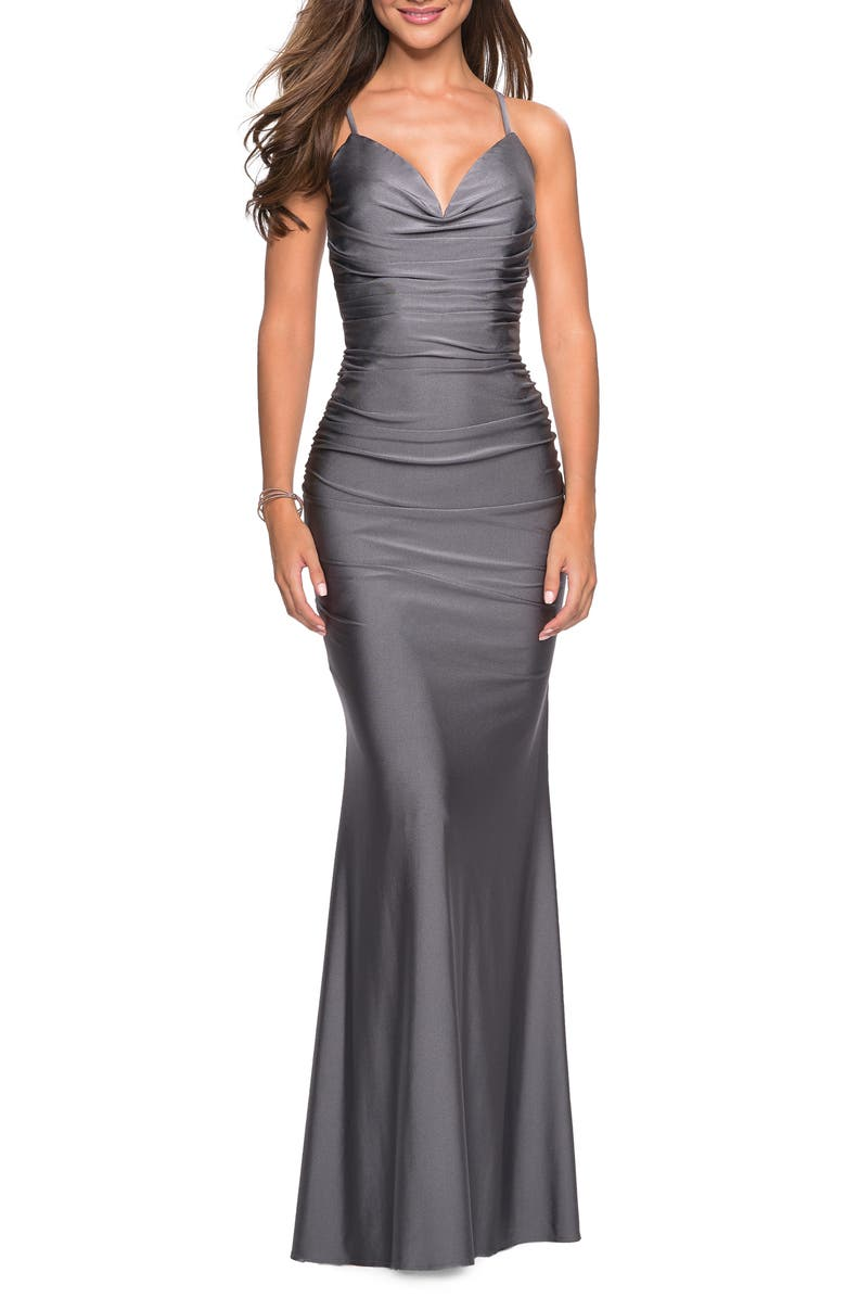 LA FEMME Strappy Back Ruched Trumpet Gown, Main, color, GUNMETAL