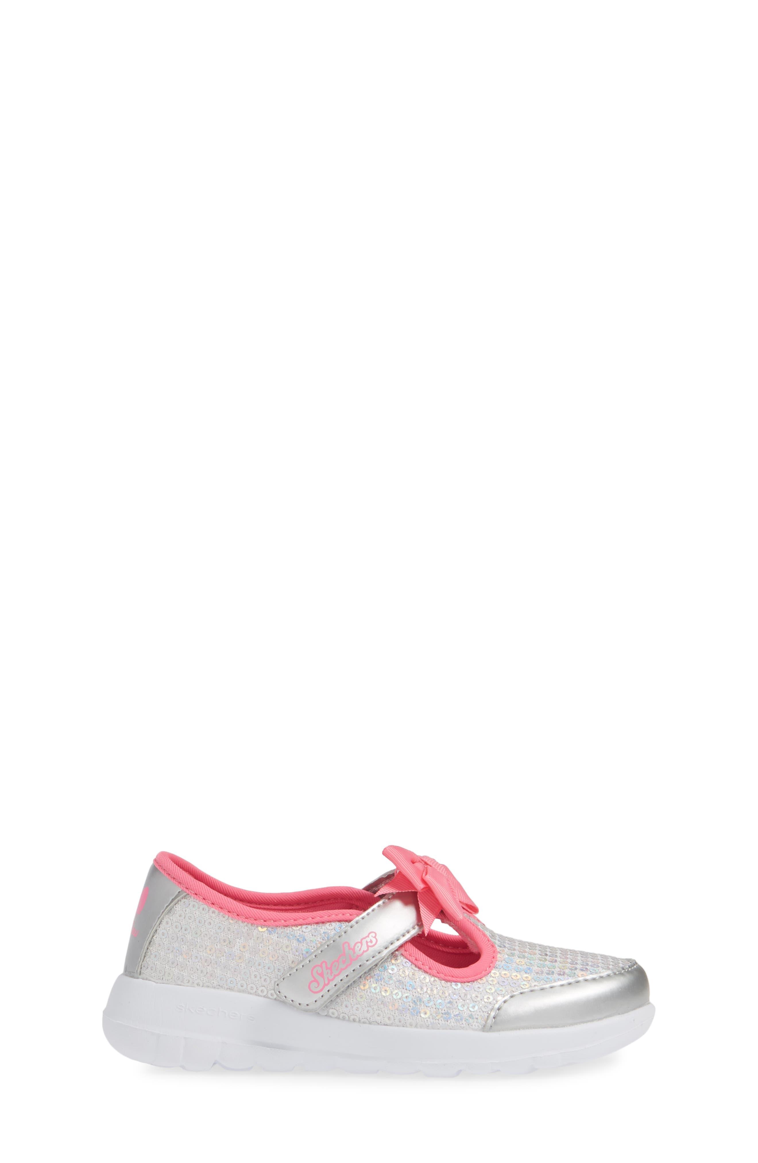 ,                             GOwalk Joy Sequin Sneaker,                             Alternate thumbnail 3, color,                             SILVER/ MULTI