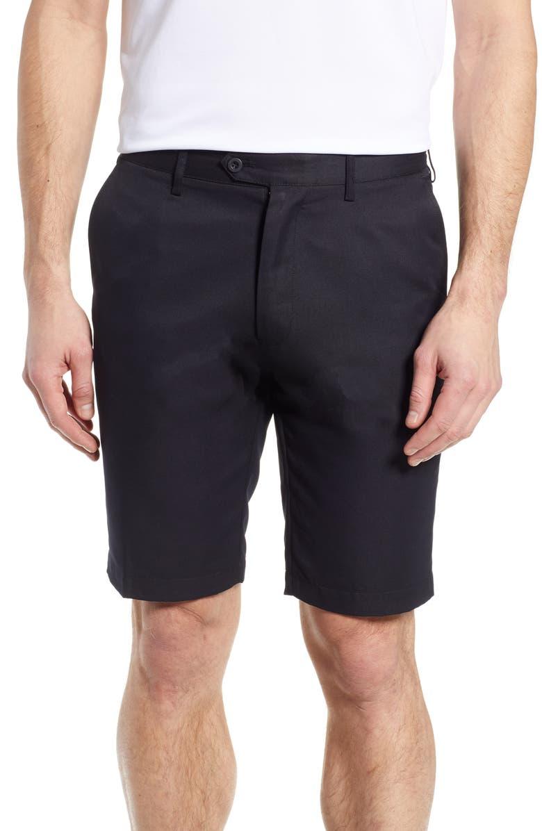 BUGATCHI Flat Front Shorts, Main, color, BLACK
