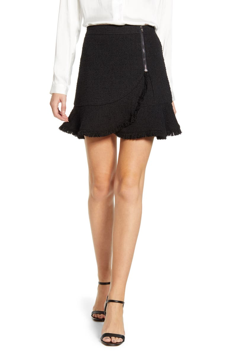 CUPCAKES AND CASHMERE Almafi High Waist Tweed Skirt, Main, color, BLACK