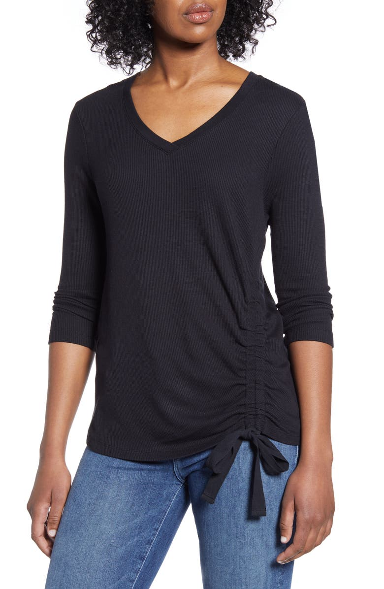WIT & WISDOM Side Ruched Thermal Knit Top, Main, color, BLACK