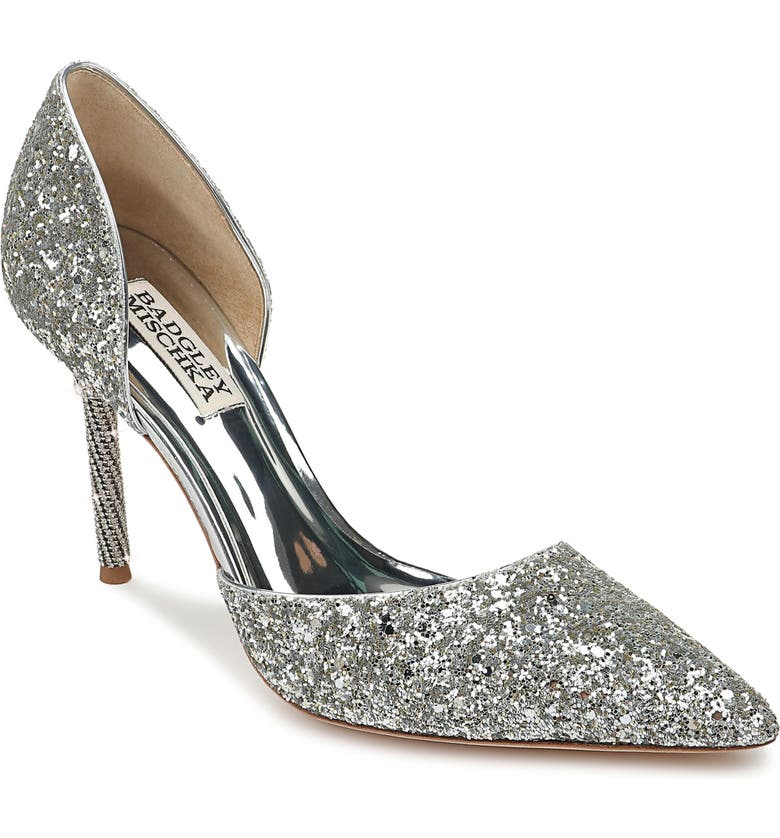 BADGLEY MISCHKA COLLECTION Badgley Mischka Ozara d'Orsay Pointy Toe Pump, Main, color, SILVER GLITTER