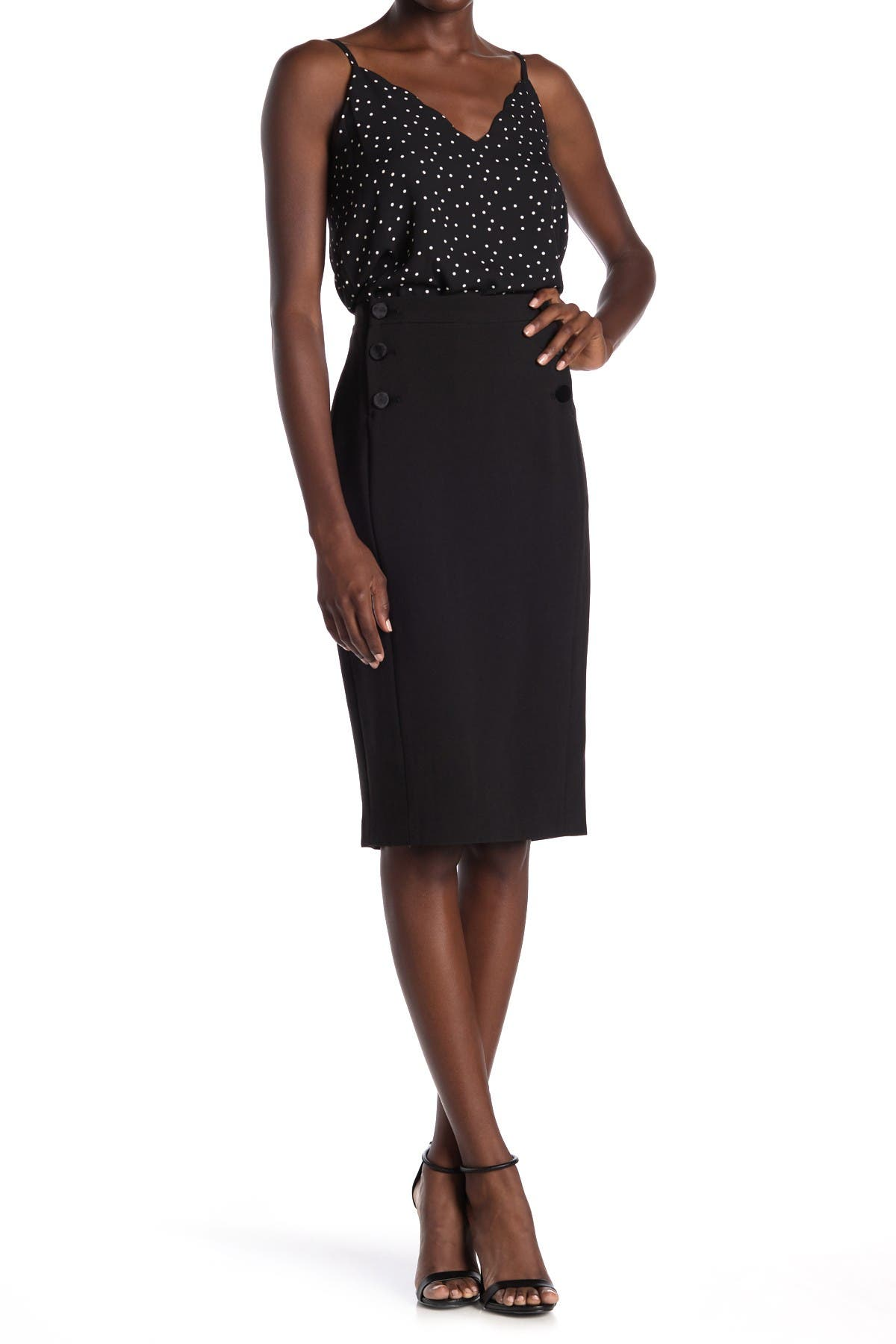 Image of FRNCH Side Button Pencil Skirt
