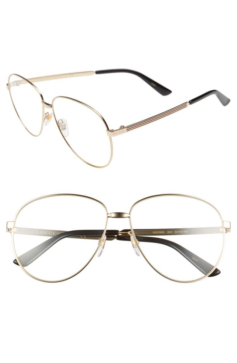 GUCCI 61mm Aviator Sunglasses, Main, color, 712