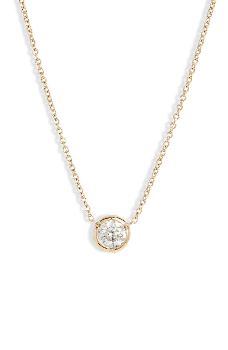 BONY LEVY Large Bezel Diamond Solitaire Necklace, Main, color, YELLOW GOLD/ DIAMOND