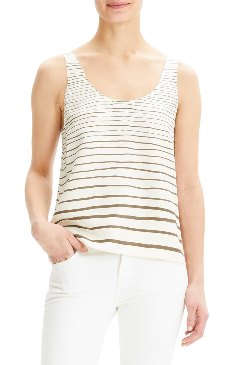 THEORY Stripe Scoop Neck Silk Tank Top, Main, color, 300