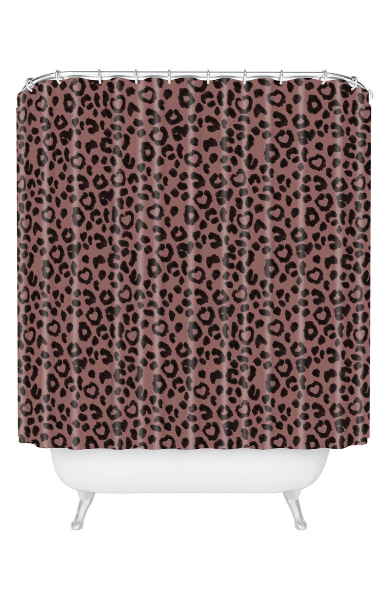 DENY DESIGNS Ash Leo Love Shower Curtain, Main, color, BROWN/ BLACK