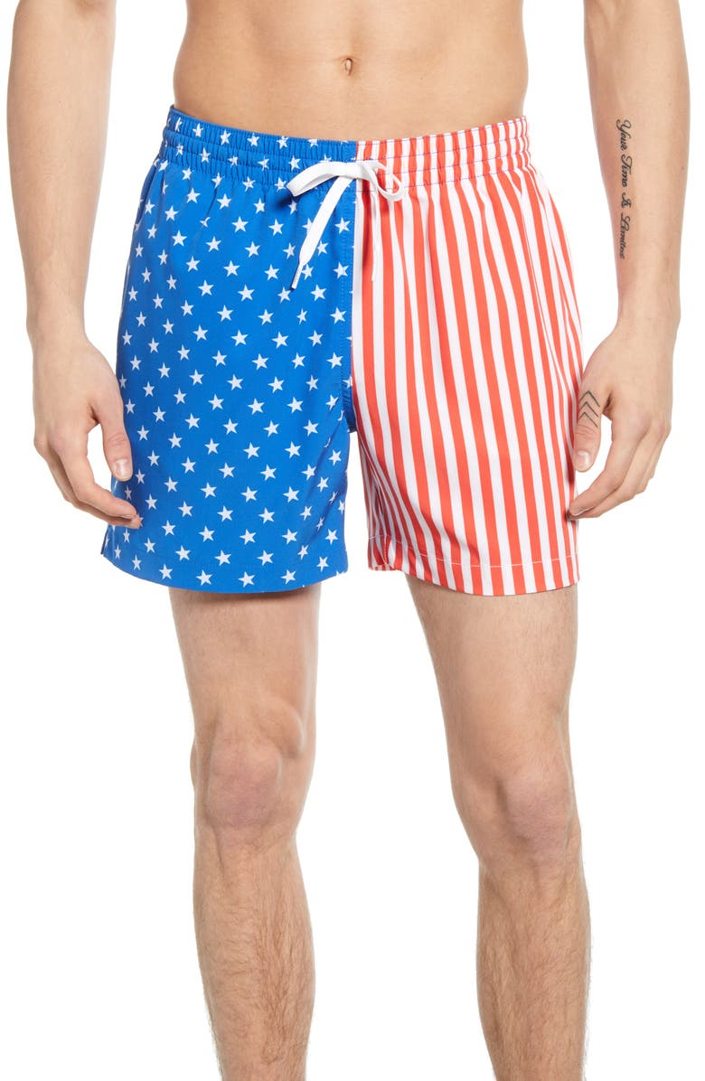 CHUBBIES American Man Print Swim Trunks, Main, color, STARS AND STRIPES