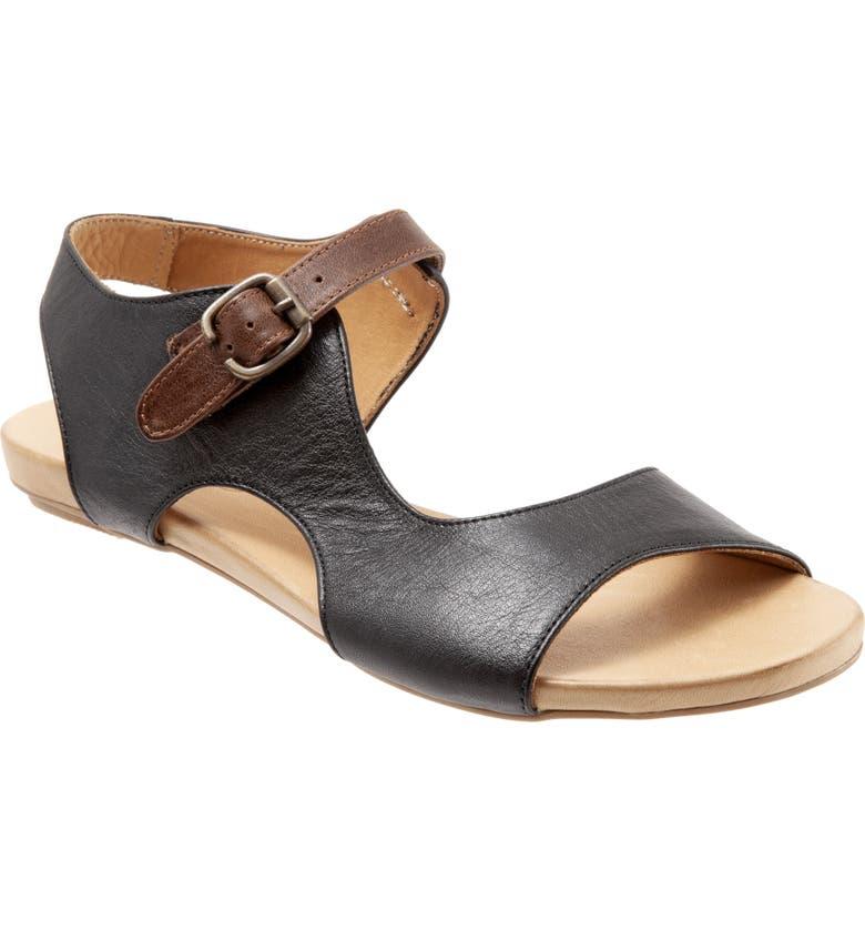 BUENO Kina Sandal, Main, color, BLACK LEATHER