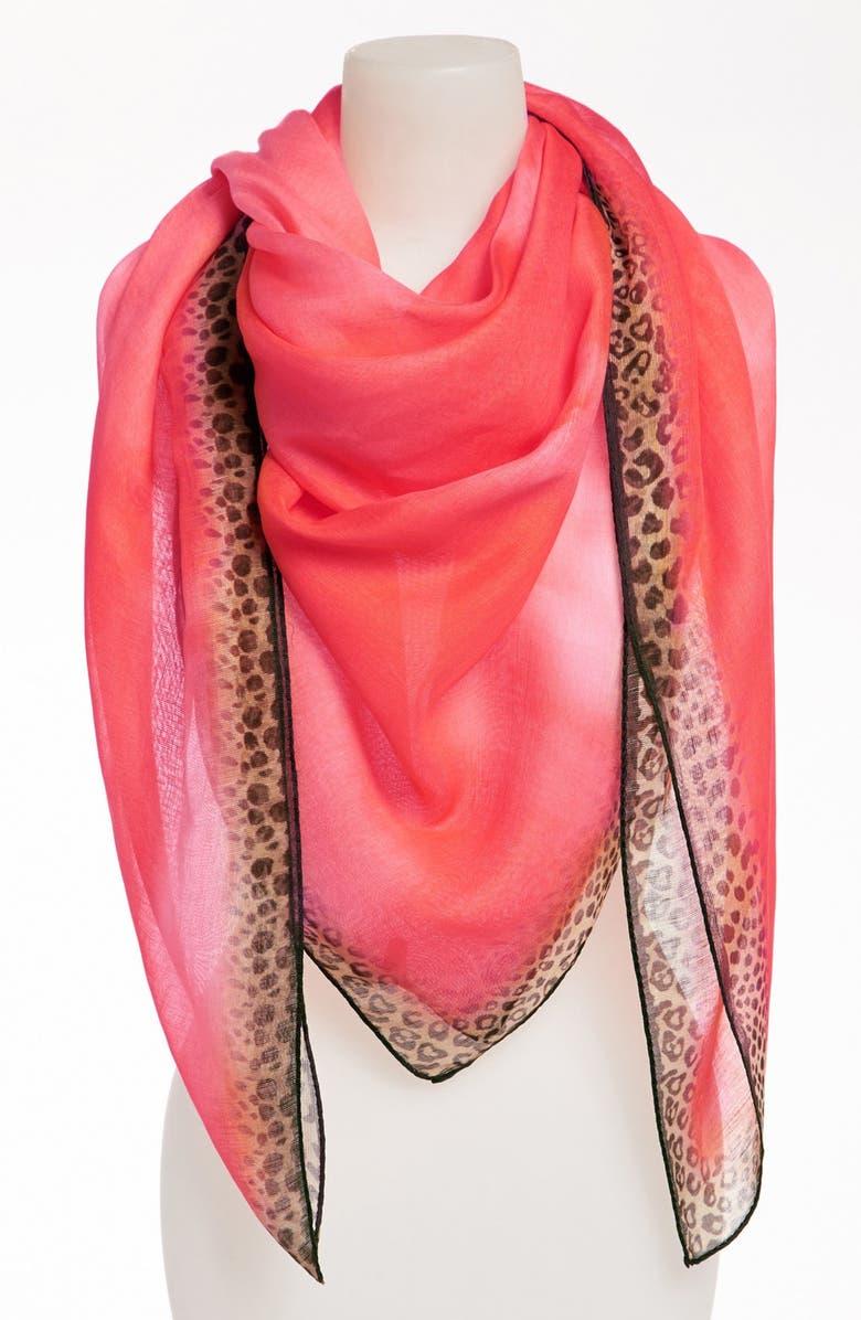 NORDSTROM 'Animal Tie Dye' Linen & Silk Blend Scarf, Main, color, CORAL PINK