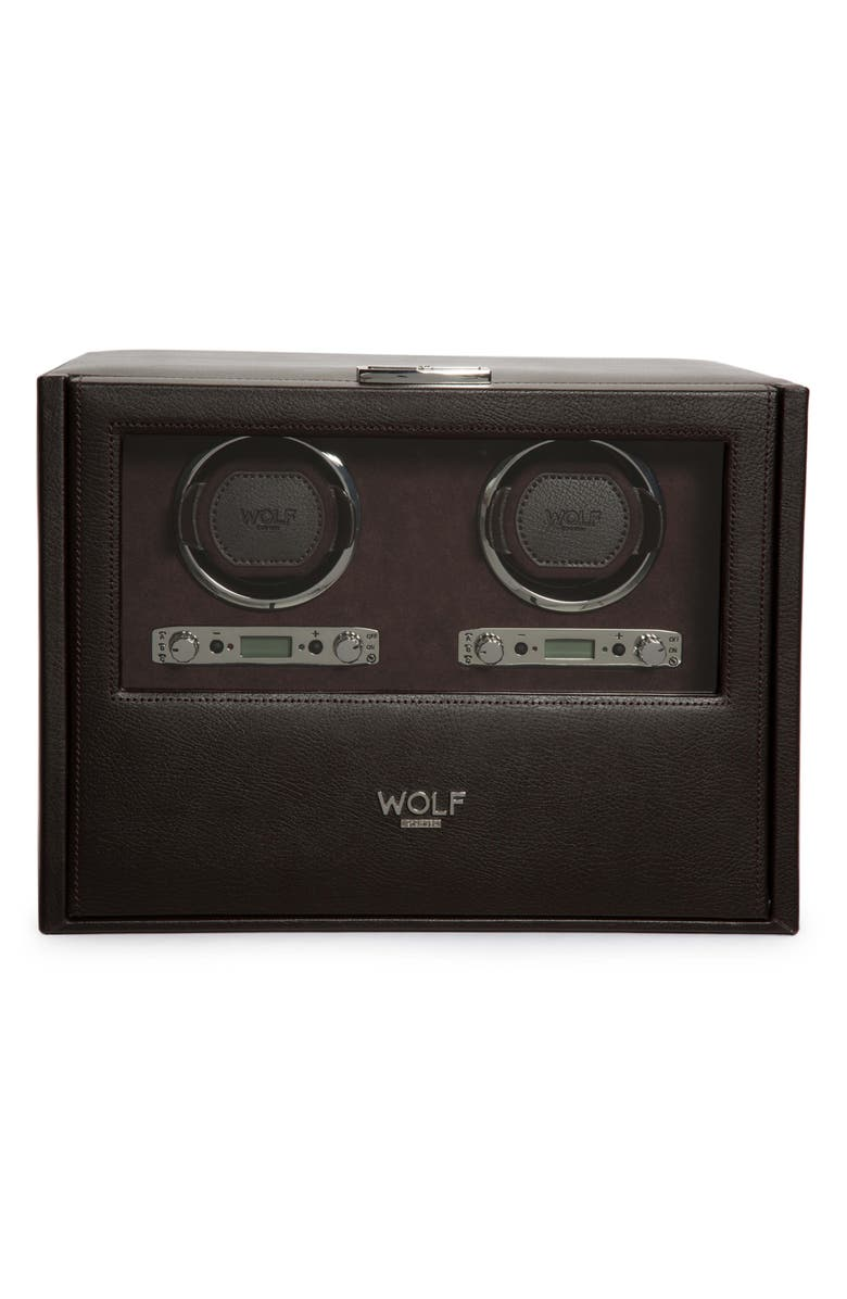 WOLF Blake Double Watch Winder Box, Main, color, BROWN