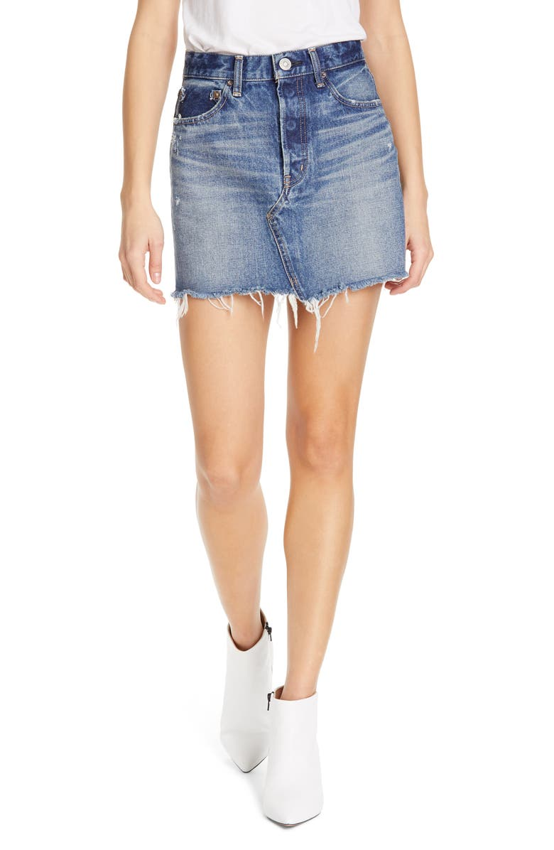 MOUSSY VINTAGE Spencer Denim Miniskirt, Main, color, BLUE