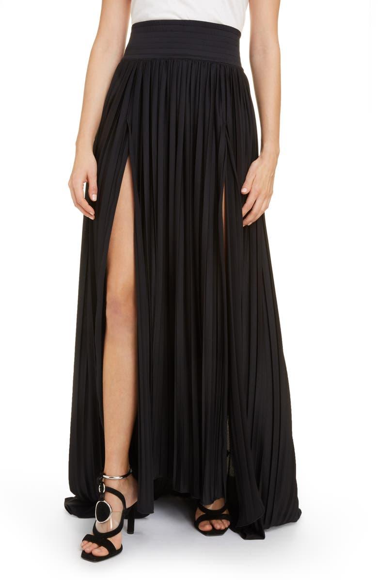 BALMAIN Plissé Pleated Jersey Maxi Skirt, Main, color, 001