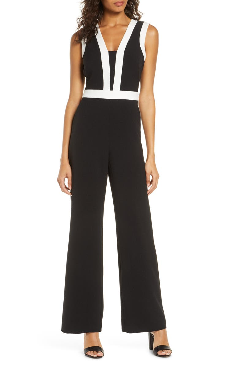VINCE CAMUTO Colorblock Kors Crepe Jumpsuit, Main, color, BLACK/ KHAKI