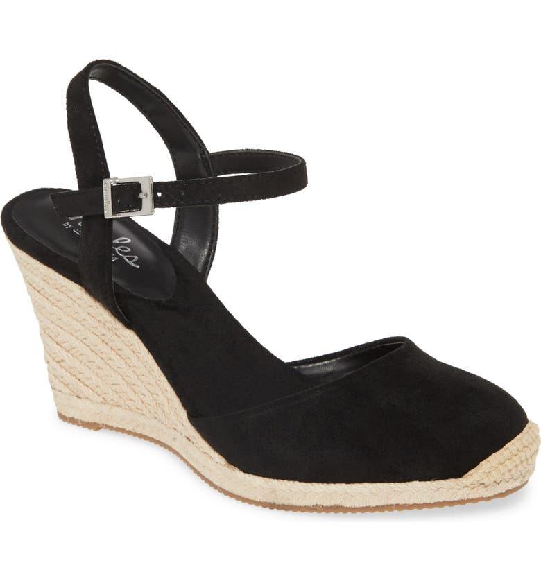 CHARLES BY CHARLES DAVID Wedge Espadrille Sandal, Main, color, BLACK
