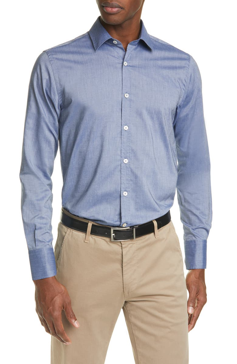 CANALI Regular Fit Solid Button-Up Shirt, Main, color, BLUE