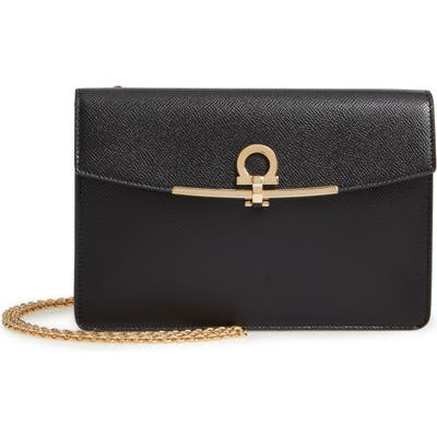 Salvatore Ferragamo Gancio Clip Leather Clutch - Black