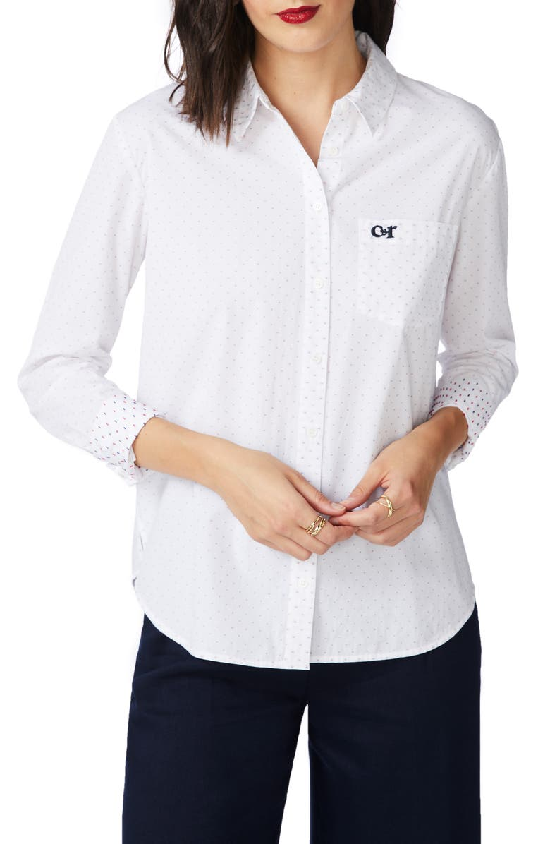 COURT & ROWE Clip Dot Long Sleeve Cotton Button-Up Shirt, Main, color, ULTRA WHITE
