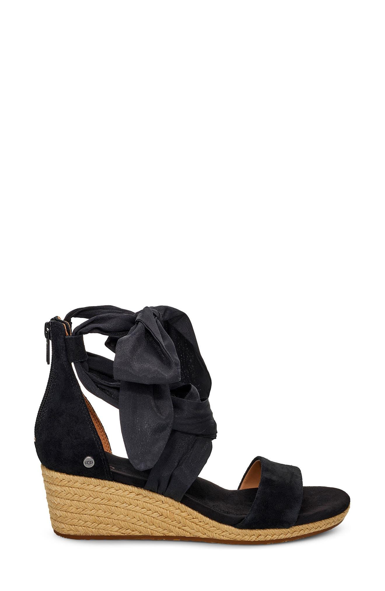 ,                             Trina Ankle Tie Wedge Sandal,                             Alternate thumbnail 3, color,                             BLACK LEATHER