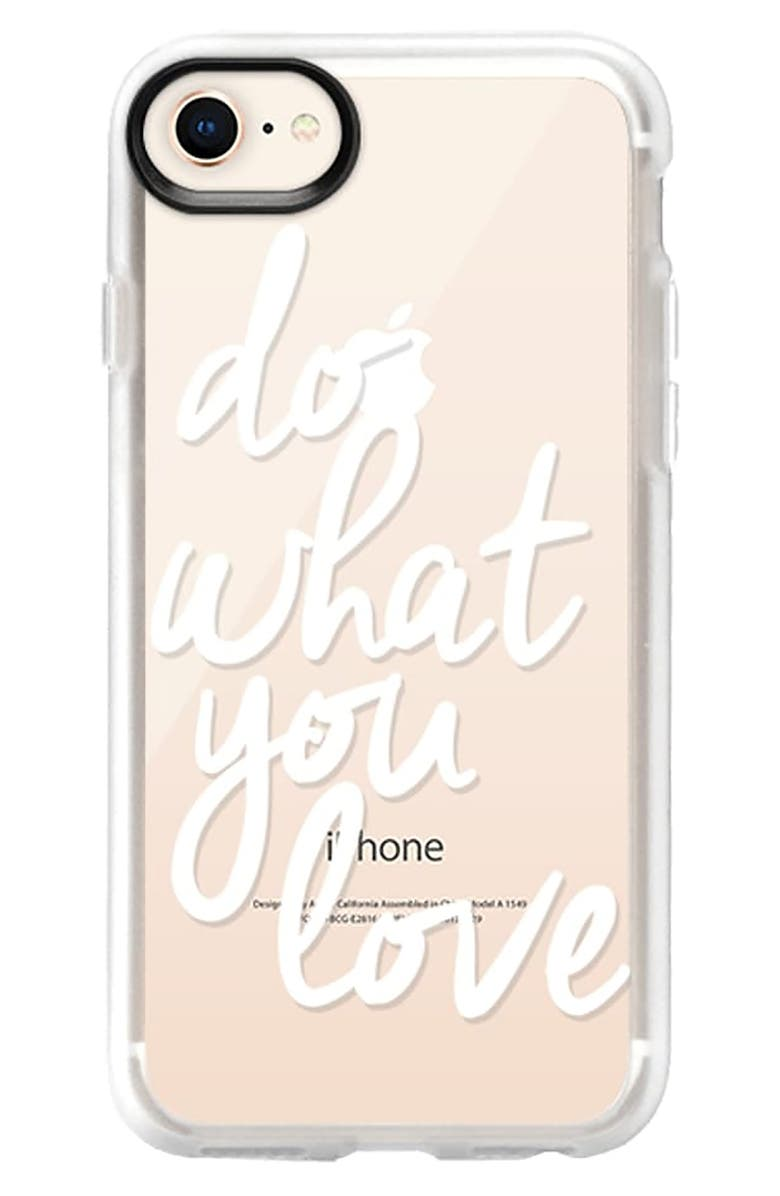 CASETIFY Do What You Love 6/7/8 & 7/8 Plus iPhone Case, Main, color, WHITE