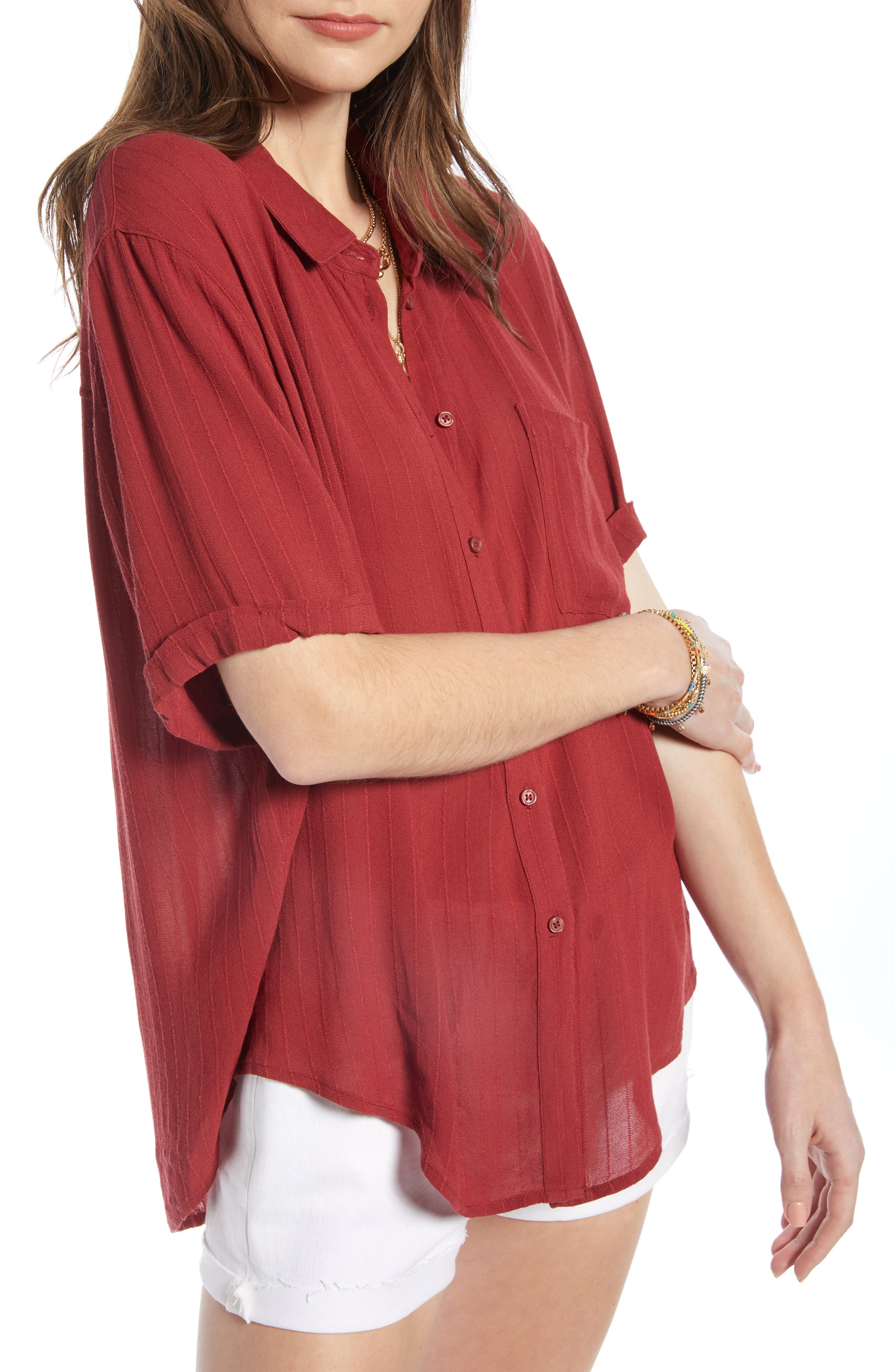 ,                             Relaxed Stripe Blouse,                             Alternate thumbnail 3, color,                             RED RUSSET