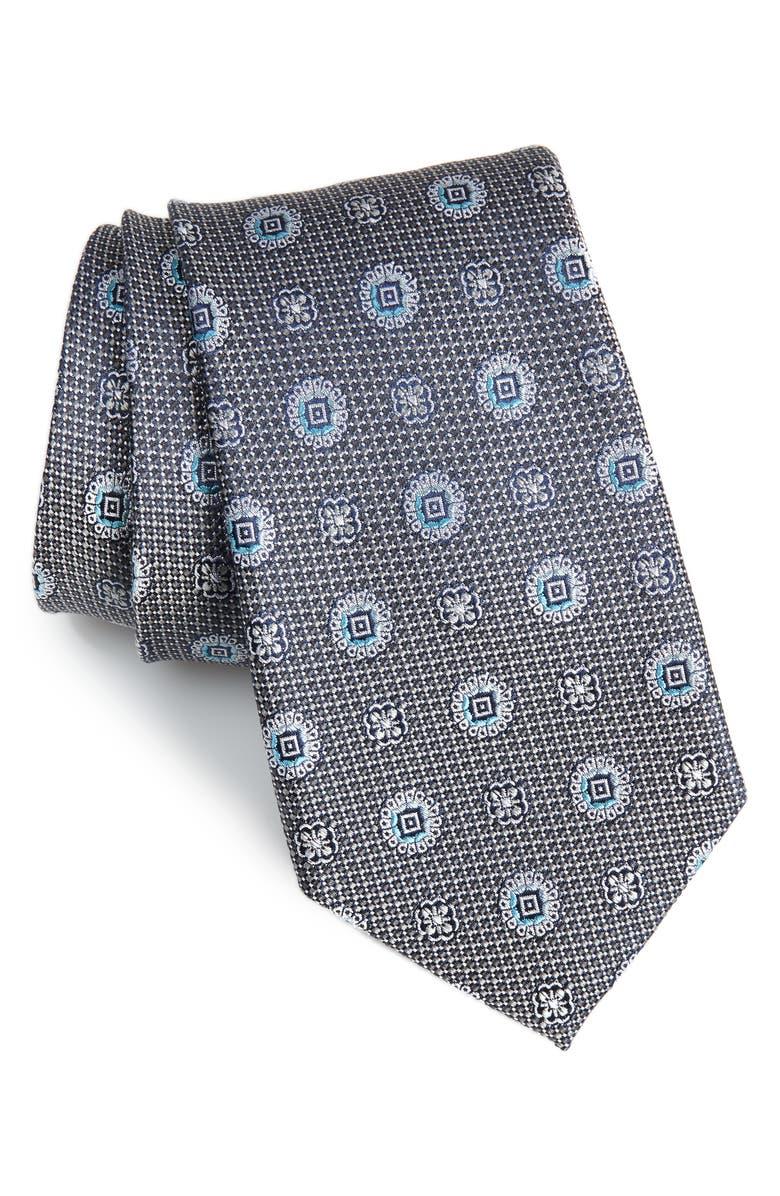 NORDSTROM MEN'S SHOP Rurwin Medallion Tie, Main, color, CHARCOAL