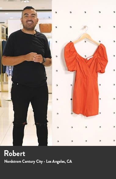 Puff Sleeve Linen Blend Romper, sales video thumbnail