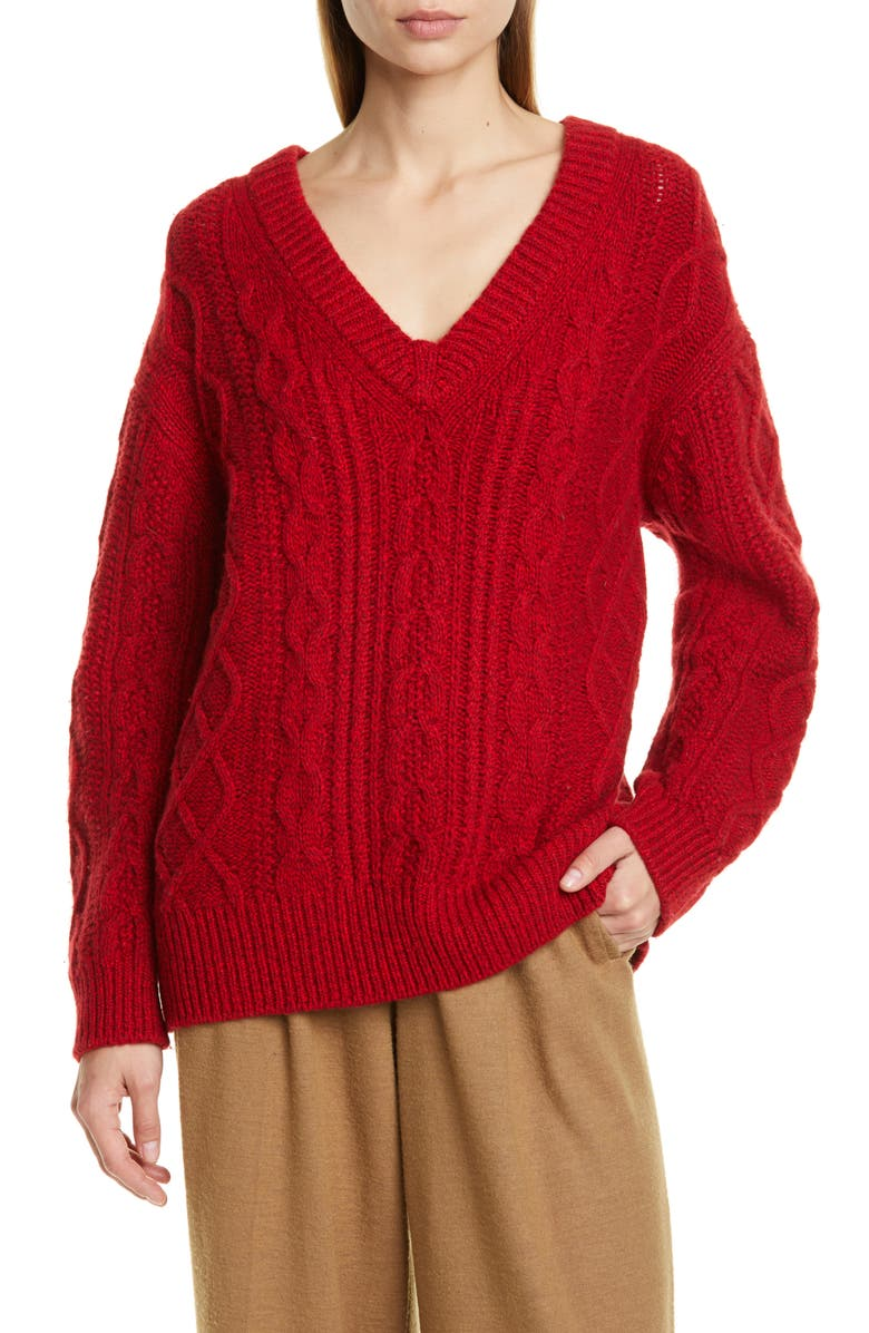 VINCE Cable Merino Wool & Cashmere Blend Sweater, Main, color, CHERRY