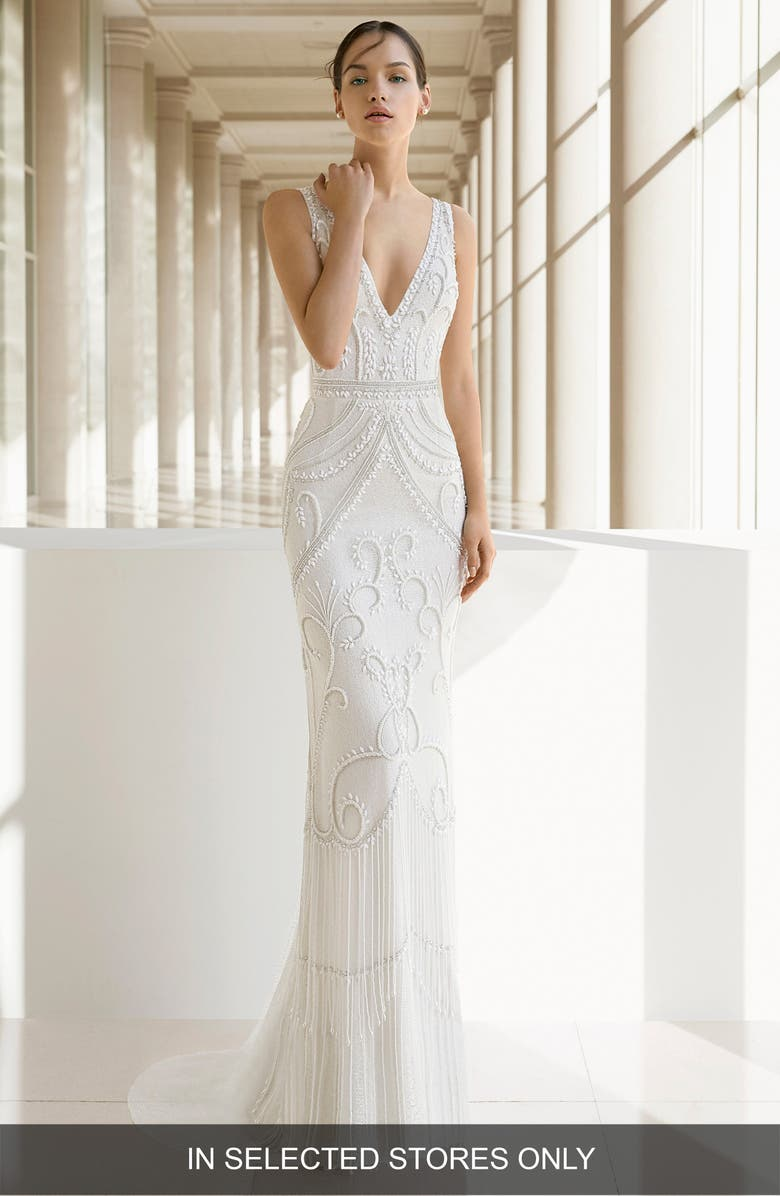 ROSA CLARA SOFT Rosa Clará Kara Beaded Trumpet Gown, Main, color, NATURAL