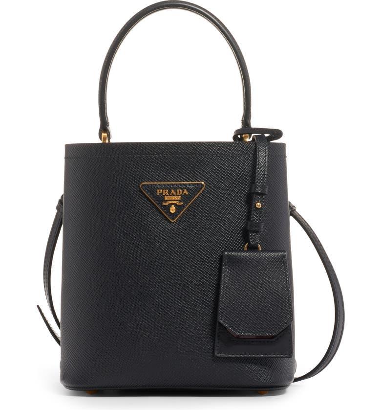 09054a0e5 Small Saffiano Leather Bucket Bag, Main, color, NERO/ FUOCO
